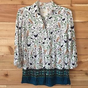 Maeve by Anthropologie Owl Blouse sz 4 •B52•